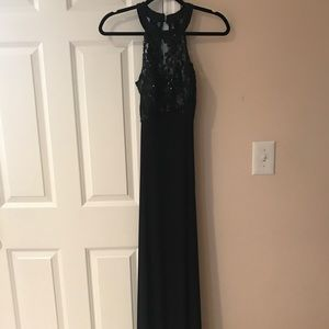 Black lace with sequin halter gown